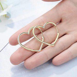 Jewelry - NEW 925 Sterling Silver Heart Hoop Earrings